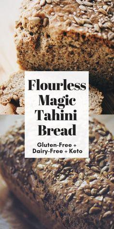 Flourless Magic Tahini Seed Bread (Gluten-Free, Keto) - Magic Tahini Seed Bread (Gluten Free, Flour Free) – An amazing gluten-free, flourless, dairy-free - Gluten Free Flour, Gluten Free Baking, Gluten Free Recipes, Bread Recipes, Keto Recipes, Dairy Free, Keto Flour, Gluten Free Breads, Healthy Gluten Free Bread