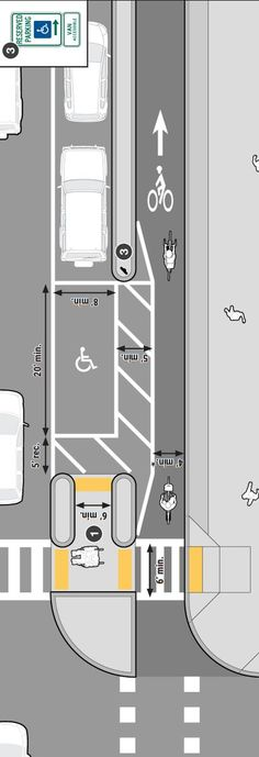Cycle path with accessible parking from Mass DOT's Separated Bike Lane Guide… Landscape And Urbanism, Landscape Design, Urban Architecture, Architecture Details, Parking Plan, Urbane Analyse, Urban Ideas, Planer Layout, Smart City