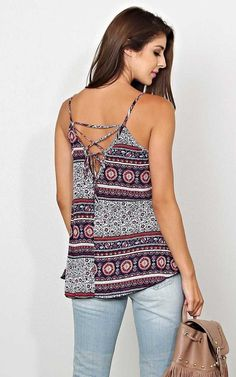 #FashionVault #styles for less #Women #Tops - Check this : Floral Fest Lace Up Woven Top - XLGE - Navy Combo in Size X-Large by Styles For Less for $12 USD