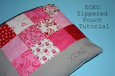 XOXO Zippered Pouch by swimbikequilt