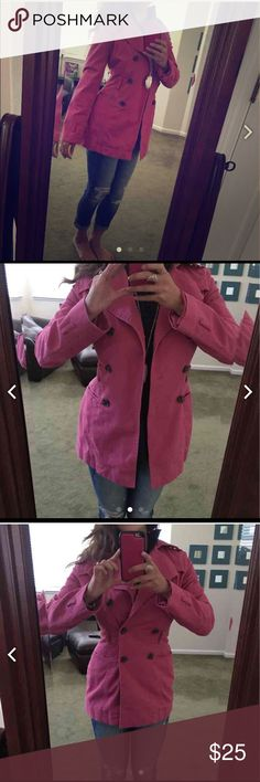Express pink trench coat XS Pretty pink coat in good used condition Express Jackets & Coats Trench Coats
