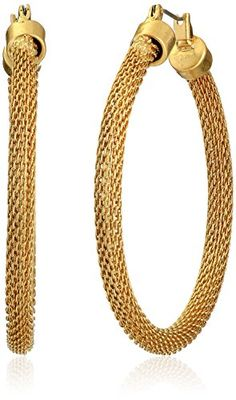 Kenneth Cole New York Gold Mesh Hoop Earrings * Be sure to check out this awesome product.