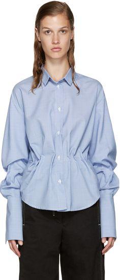 Jacquemus: Blue Gathered Shirt | SSENSE