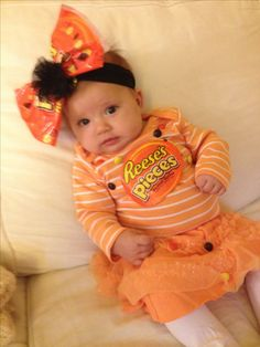 Reese's Pieces First Halloween costume made by my Gramma!