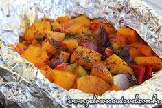 O #almoço temos esta deliciosa Abóbora Aromática no Papelote, é super fácil, bora fazer? Todos vão amar!  #Receita aqui: http://www.gulosoesaudavel.com.br/2014/08/22/abobora-aromatica-papelote/