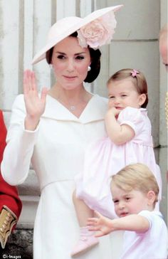 Catherine with George and Charlotte at the Trooping the Colour celebrations!