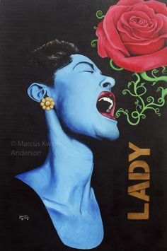 Billie Holiday - Lady Day Spraypaint and acrylic on plywood by Marcus Anderson