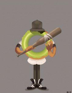 baseball furies - donuts - the warriors - cartoon - gif - animation