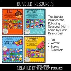 These math coloring sheets are perfect for addition and subtraction practice. Use them to reinforce addition and subtraction strategies. This resource includes 4 Seasonal sets: Fall, Winter, Spring, and Summer!I like the bonus fine motor practice my students get while coloring small areas of the pi...