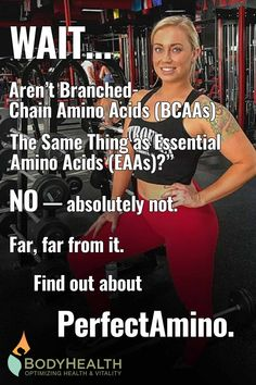 Branched-Chain Amino Acids — or BCAAs — is a term that refers to just three amino acids: leucine, isoleucine, and valine. But there's one BIG problem: with only three amino acids, you do not build protein. You can't. You need ALL of the Essential Amino Acids. If you only get some of them, they aren't used for protein synthesis. And your body has no way to store amino acids. Instead... they're turned into sugar or fat. That's not marketing. It's science. #veganprotein #musclefatigue For Your Health, Health And Wellness, Health Fitness, Fitness Gadgets, Fitness Tips, Get Healthy, Healthy Eats, Personalized Medicine, Spring Outfits