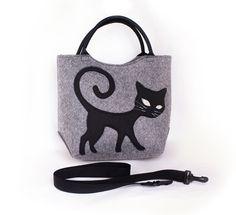 Felted bag Grey cat bag Mini satchel Women's handbag Cat purse Top handles bag Attachable Strap bag Eco friendly bag removable strap bag (33.00 USD) by volaris