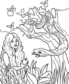 Adam and eve in the garden of eden bible coloring page for Adam eve coloring pages