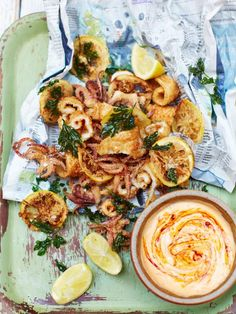 Party Squid & Harissa Mayo by Jamie Oliver: fresh, crispy squid dunked into this beautifully bold harissa mayo – perfect for feeding a crowd.