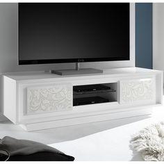 meuble tv blanc laqu mat avec motifs fleurs belladone - Meuble Tv Living Blanc Laque For You