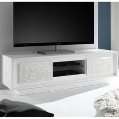 meuble tv blanc laque mat avec motifs fleurs belladone
