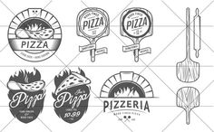 Check out Vintage pizzeria logos and elements by 1baranov on Creative Market