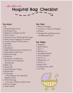 The complete list of what to pack in your hospital bag for Mum Dad Baby The complete list of what to pack in your hospital bag for Mum Dad Baby,After baby Hospital Checklist, Packing Hospital Bag, Baby Checklist, Hospital List, Diaper Bag Checklist, Pregnancy Checklist, Baby Schedule, Pregnancy Labor, Hospital Bag For Mom To Be