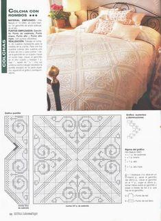 Colchas y adornos para camas - Pilar Rb - Picasa Web Albums Crochet Bedspread Pattern, Crochet Curtains, Crochet Quilt, Crochet Cross, Crochet Tablecloth, Crochet Squares, Thread Crochet, Crochet Granny, Crochet Motif