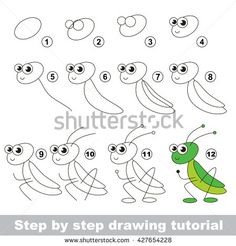 Drawing tutorial for children. Easy educational kid game. Simple level of difficulty. How to draw the Grasshopper