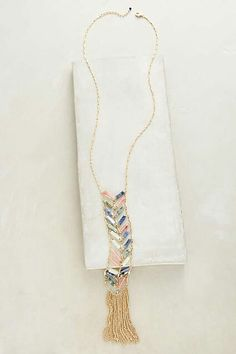 """Chevron Fringe Lariat Necklace - $64 DETAILS Metal, resin, glass Lobster clasp. Style No. 39370796 Dimensions 28""""L with 2"""" extender chain. 8"""" pendant"""