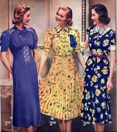Love these stylish dresses with their elbow length sleeves from 1938. #vintage #1930s #fashion