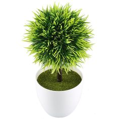 GTidea 9.5'' Artificial Fake Potted Plants Plastic Green Topiary Ball Shrubs with White Planter Pot for Home Kitchen Office Indoor Table Centerpieces Decors *** Wow! I love this. Check it out now! (This is an amazon affiliate link. I may earn commission from it)