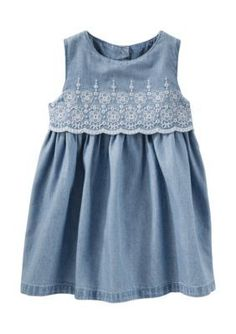 OshKosh Bgosh Denim 2-Piece Two-Tier Eyelet Chambray Dress Set