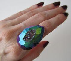 Rainbow Titanium Druzy Ring, $34.00