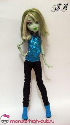 Мастерим простую майку и джинсы для куклы МН | Monster High Club