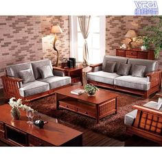 Solid Wood Furniture Set With Accent Wall Decor In Living Room Part 57