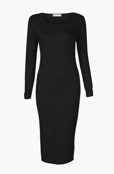 Women's Long Sleeve Scoop Neck Midi Dress