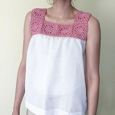 Ravelry: Yoke and Fabric Top pattern by Lakshmi Ravi Narayan Top can be sized up or down by changing the underarm spacing. Crochet Yoke, Crochet Fabric, Fabric Yarn, Crochet Blouse, Crochet Granny, Free Crochet, Crochet Pattern, Crochet Square Patterns, Crochet Woman