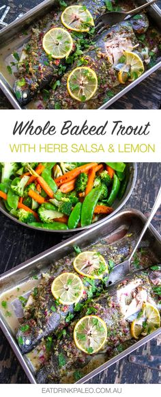 Whole Baked Trout With Herbs Salsa & Lemon