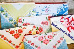 Zipper Pouch / vintage floral hankie pouches / shabby chic scalloped edges burlap on Etsy, $10.00