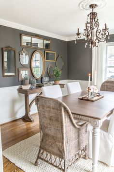 A couple of tricks for hanging the perfect mirror gallery wall plus ideas for a traditional meets modern eclectic dining room. A couple of tricks for hanging the perfect mirror gallery wall plus ideas for a traditional meets modern eclectic dining room. Dining Room Wall Decor, Dining Room Design, Dining Room Mirrors, Dining Area, Wall Of Mirrors, Dinning Room Ideas, Patio Dining, Diningroom Decor, Dining Room Colors