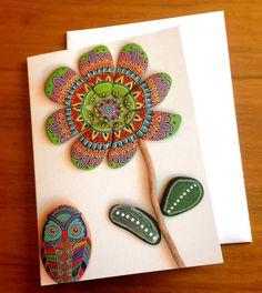 Painted stone mandala flower 3  Greeting by ISassiDellAdriatico