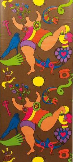 Pattern design by Niki de Saint- Phalle (1930-2002), ca. 1972, Wallpaper 'Niki' Gold bottom.