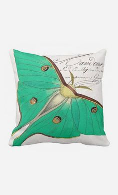 Pillow Cover Green Moth Cotton and Burlap Pillow