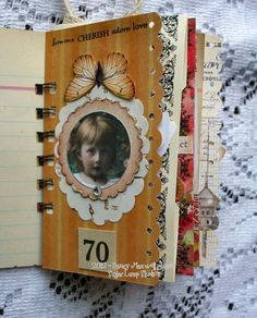 Mini Scrap Journal OOAK Collage Spiral Bound Journal. Beautiful!!
