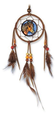 Amia 6041 Horse Design Hand-Painted Glass Mini Dream-Suncatcher, 9-Inch by 3-1/2-Inch by Amia. $12.00. Handpainted glass, real leather, feathers and wooden beads. Includes genuine rawhide strap for hanging. Comes boxed, makes for a great gift. This Amia mini dream-suncatcher with a traditional image honors North American Indians who lived harmoniously with nature. Details such as real leather, feathers and wooden beads go naturally with Amia's hand-painted glass.