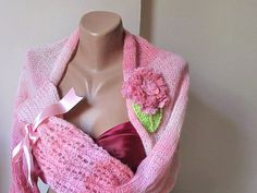 Knitted Wedding shrug. pink ,crochet flower.Ready to ship.Handmade.OOAK.spring fashion.winter accessories. by selecta6 on Etsy
