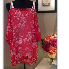Sexy summer chiffon short party dress/tunic Made of a soft, flowing chiffon material this floral garment could be worn as a tunic with short or long leggings or as a super sexy party dress paired with a long tank underneath.  Batwing sleeves and cold shoulder straps add a bit of flair.      One size fits most. Dresses Mini