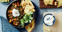 Enjoy this flavour-packed 17-minute curried mince and sweet potato bowl, served with warmed naan bread.