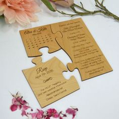 Original Wedding Invitations Limited Edition Engraved Wooden Puzzle Wedding Invitation With Save Original Wedding Invitations, Creative Wedding Invitations, Wedding Invitation Wording, Wedding Stationery, Invitation Ideas, Invite, Event Invitations, Invitation Envelopes, Wedding Pins