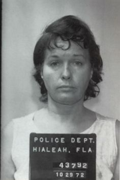 """Bettie Page mugshot, 1972"" I wonder what the story is? ""After Bettie left the pinup world she became a religious fanatic. Years later she was diagnosed as schizophrenic and eventually spent over 11 years in a state mental institution because she stabbed three people. A husband and wife the first time, and her 66 year old roommate the second time because she said ""God inspired her to do it""."""