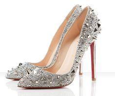 Silver Glittery Studs Louboutin