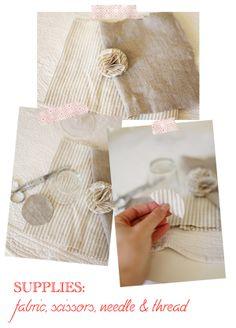 diy fabric pompoms. via sweet as candy