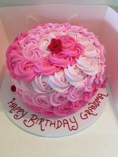 Ombré pink rosette cake