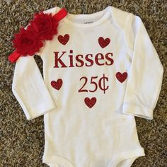 A personal favorite from my Etsy shop https://www.etsy.com/listing/261824970/valentines-day-onesie-1st-valentines-day