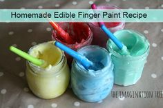 Homemade Edible Finger Paint Recipe Read HERE --- > http://www.livinggreenandfrugally.com/homemade-edible-finger-paint-recipe/